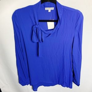 New pleione royal blue tie neck blouse M